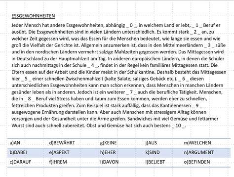 deutsch global telc  sprachbausteine essgewohnheiten
