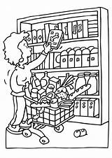 Coloring Pages Grocery Shopping Getcolorings Printable sketch template