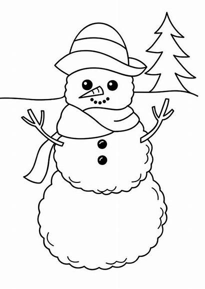 Snowman Coloring Winter Simple Drawing Easy Season
