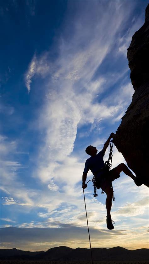 Wallpaper Extreme Silhouette Climbing Rock Sunset