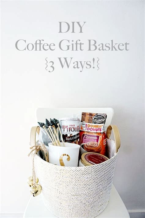 Buy coffee gift baskets, hot chocolate baskets and rum cake gifts at coffeeforless. DIY Coffee Gift Basket 3 Ways   Coffee gift baskets, Best ...