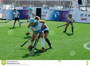Girls play field hockey. editorial stock image. Image of ...