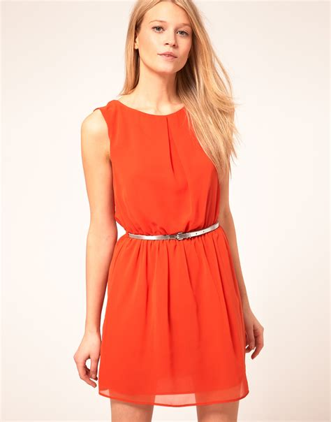 dress with belt asos collection asos skater dress with belt in lyst