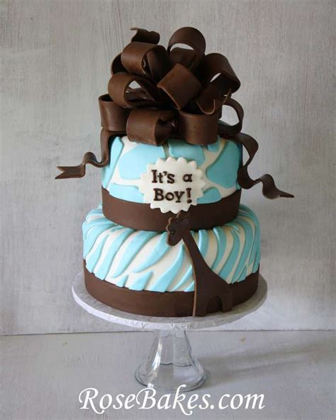 brown and baby blue baby shower decorations brown blue zoo animals baby shower cake