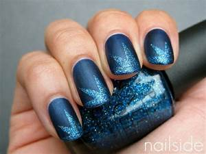 Dark blue nails with light glitter tips nail design