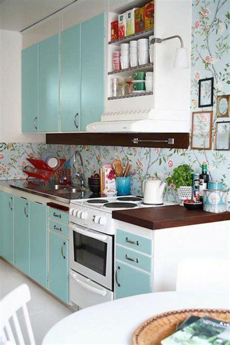 papier peint cuisine meuble cuisine bleu le plus incroyable en plus de