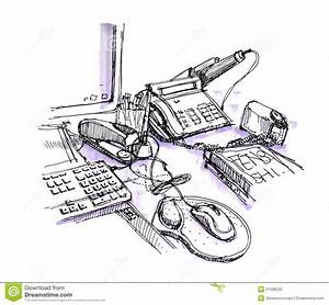 Office Working Desk Space Drawing Stock Photo - Image of ...