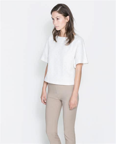 zara white blouse zara polka dot printed blouse in white white lyst