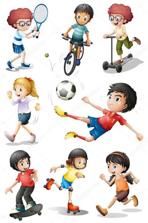 kids engaging   sports activities stock