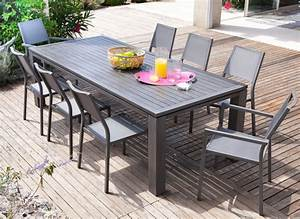 Table Aluminium Extensible : salon de jardin avec grande table promotion proloisirs ~ Teatrodelosmanantiales.com Idées de Décoration