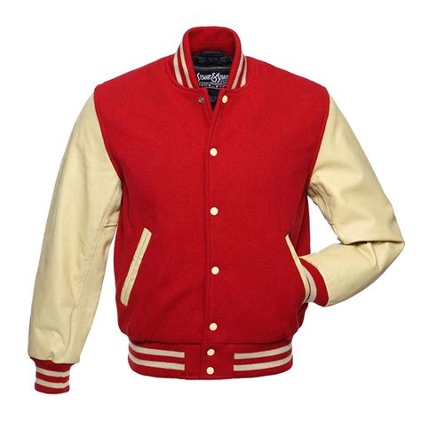 red  white baseball jacket varsity apparel jackets