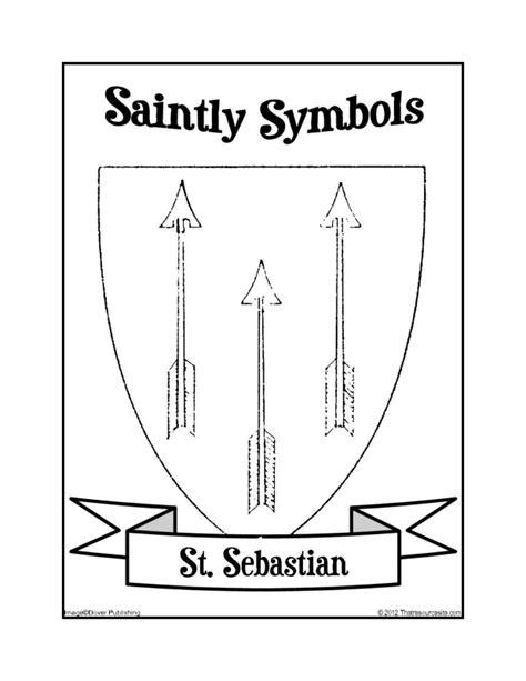 saintly symbols  st sebastian coloring sheet