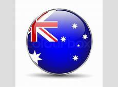 Australia Flag Button Icon on white background Vector