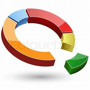 Illustration Of Colorful Pie Chart On White Background