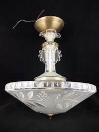 ceiling light fixtures Vintage 30s Art Deco Chandelier Ceiling Light Fixture ...