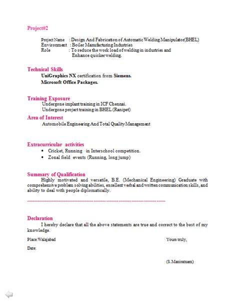 Resume Career Objective For Mechanical Engineer by Mechanical Engineer Cv Format