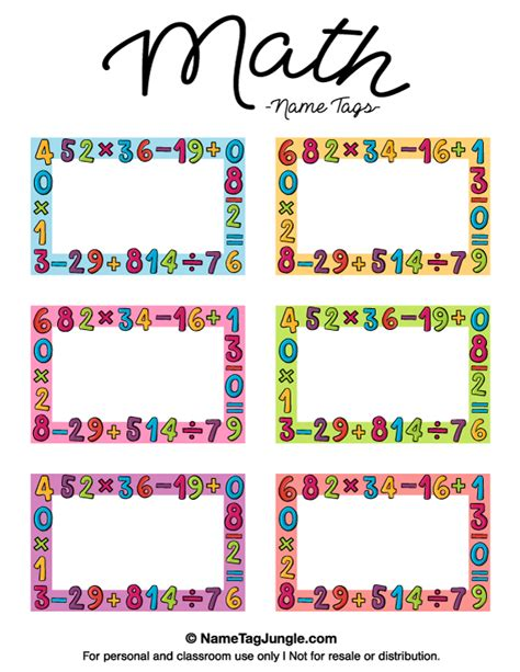 Name The Template by Free Printable Math Name Tags The Template Can Also Be