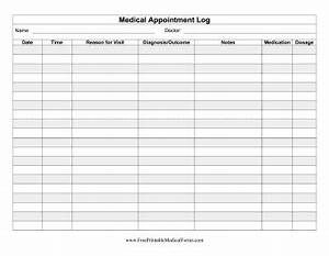 This medical appointment log can be kept for personal for Appointment log template