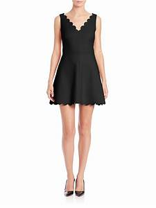 lyst red valentino scalloped fit flare dress in black With red valentino robe