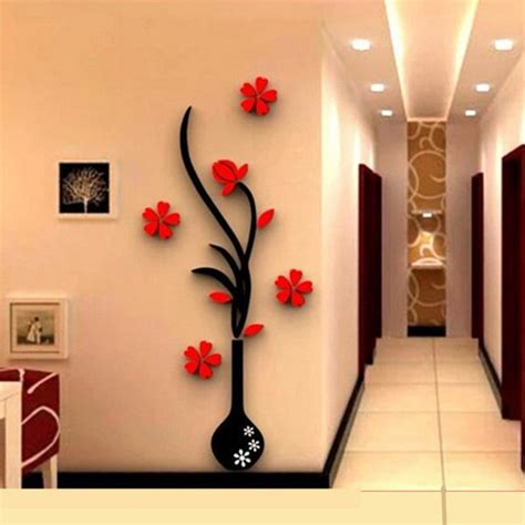 3d Vase Removable Flower Tree Crystal Acrylic Wall Sticker