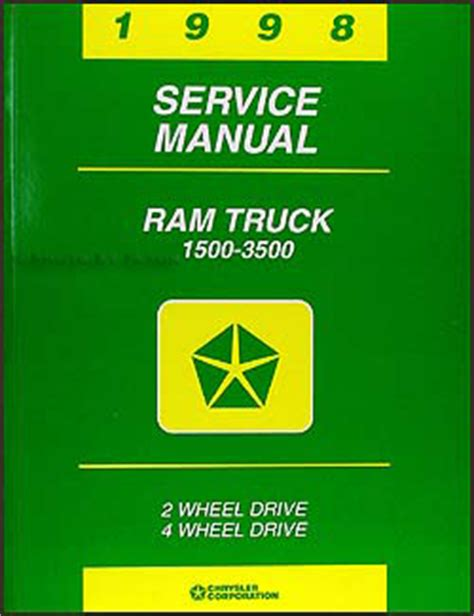 vehicle repair manual 1998 dodge ram van 3500 user handbook 1998 dodge ram truck repair shop manual original 1500 2500 3500
