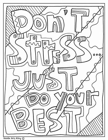 Quotes Doodles Classroom Coloring Pages Doodle Stress