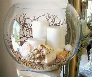 Home Decorating Ideas Bathroom Seashell Candle Centerpiece