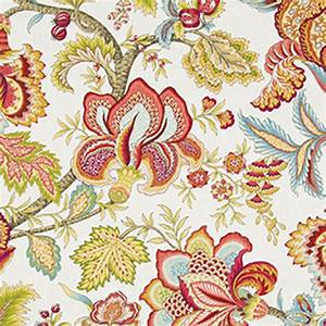 Jacobean Swag Coral Floral Drapery Fabric by Robert Allen