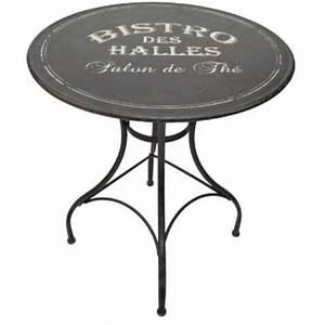 Table Bistrot Pliante : table ronde en m tal bistro des halles 76x72cm achat vente table de jardin table ronde en ~ Teatrodelosmanantiales.com Idées de Décoration