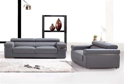 canapé cuir gris deco in ensemble canape 3 2 places en cuir gris