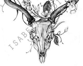 Deer Skull Print Original Black White Pencil