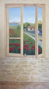 Trompe L Oeil Fenetre Exterieur : peinture decorative en trompe l 39 oeil fresque murale ~ Melissatoandfro.com Idées de Décoration