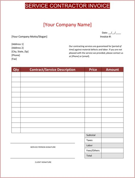 contractor invoice template  printable contractor invoices