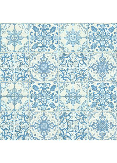 papier peint motifs quot azuleros quot bleu blanc ecru