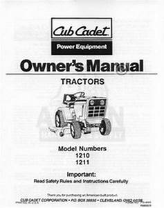 Ih Cub Cadet Model 1210 1211 Owners Operators Manual