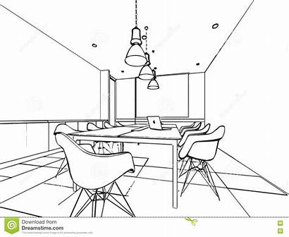 Space Drawing Office Perspective Sketch Interior Outline
