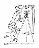 Washington George Coloring Pages Presidents Printables Surveyor President Usa Continental sketch template