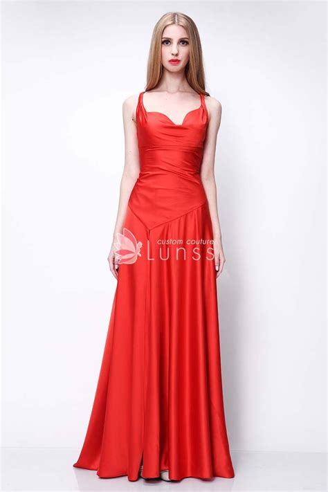 elegant red satin long evening prom dress lunss couture
