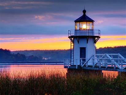 Lighthouse Maine Wallpapers Coast Evening Lighthouses During