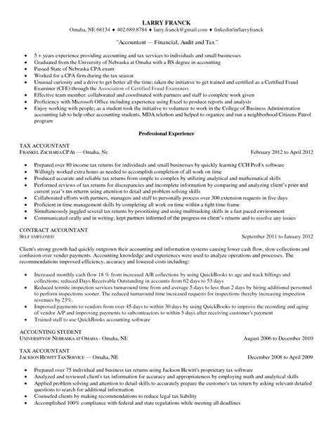 Free Resume Sles For Accounting by Tax Accountant Resume Resume Badak