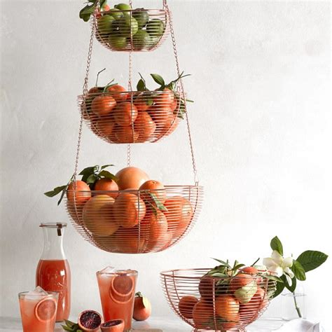hanging wire  tier fruit basket williams sonoma