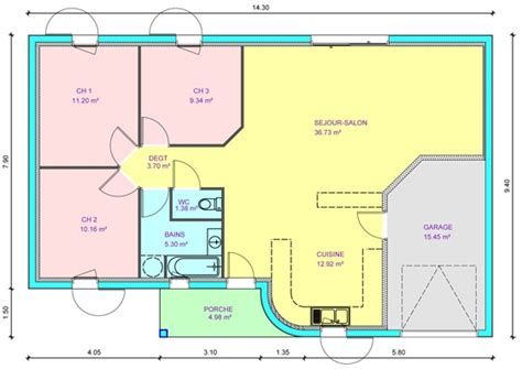 plan maison plain pied 3 chambres plan maison plain pied 80m2 3 chambres