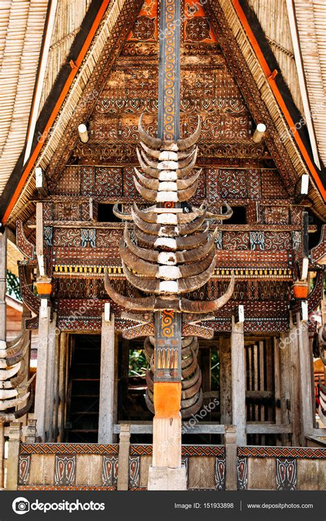 horns house part of tongkonan house with horns of buffaloes and wood