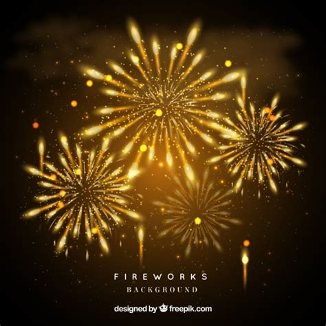 yellow fireworks background vector