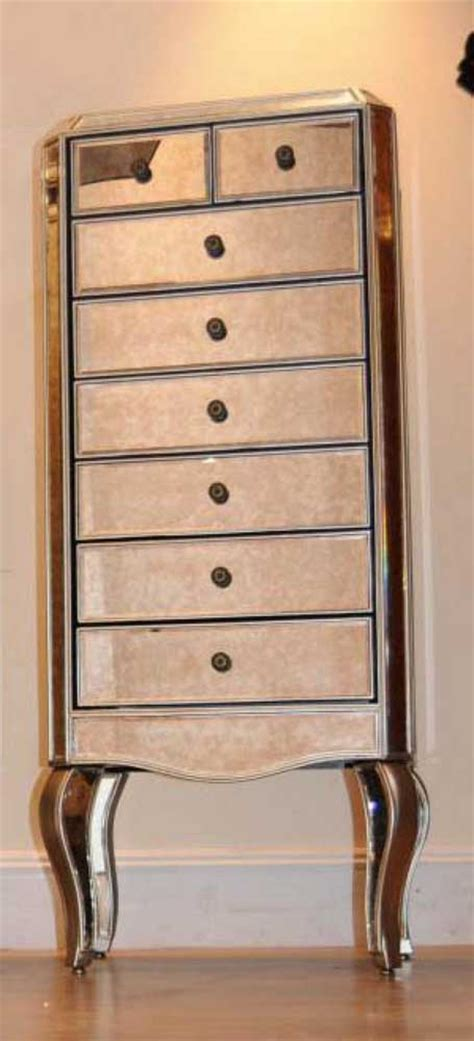 mirrored chest  drawers tall boy commode