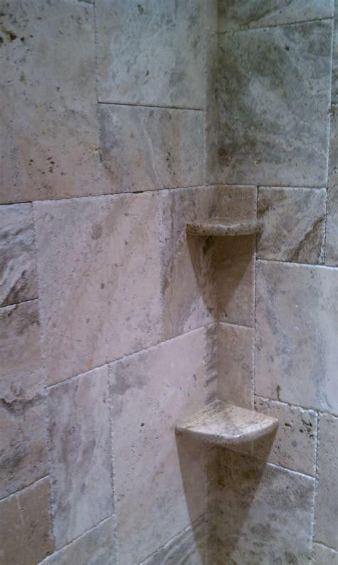travertine walk in shower with granite shelves yelp