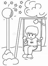 Swing Coloring Boy Hand Park Cartoon Pages Swinging Playing Drawn Illustration Fall sketch template