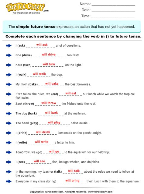 new 929 simple future tense worksheets for grade 3