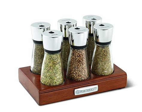 Spice Rack With Jars by Cole Wooden Spice Rack With Glass Jars 6 Jar