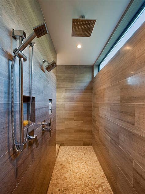 Modern Garage Bathroom Ideas by Dual Shower Placement Bathroom Contemporary With Walk